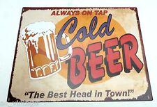 Repro Blechschild Cold Beer, Kneipendekoration, Partyraum Deko 20 x 25 cm Bier