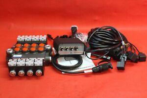 HYDRAULIC BANK MOTOR 4 SPOOL VALVES 50L/MIN ELECTRIC 12V + Control Panel