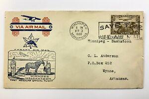 1930 Canadian First Flight Commemorative Covers Winnipeg-Saskatoon Envelope 864B