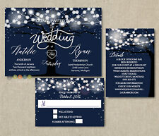 100 Personalized Rustic Tree String Lights Navy Wedding Invitations Suite