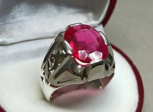 Oval Cut Deep Red Ruby Mens Ring Sterling Silver 925 Roby Handmade Yaqoot Ring