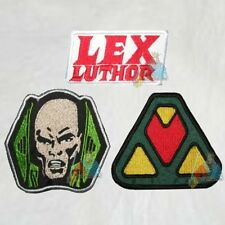 Lex Luthor Set 3 Embroidered Patches Suit Chest Logo Super Powers Head Superman