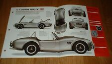★★ 1985 Shelby Ac Cobra Mk IV Originale Imp Brochure 85 Mkiv MK4 Mark 4 86 87