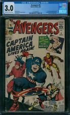 Avengers 4 CGC 3.0  1st Silver Age Captain America ow/w pages!