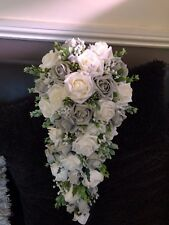 *NEW* Wedding Flowers Bride's Shower Bouquet Grey & Ivory  with Gyp