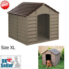 XL Plastic Dog Kennel Pet House Weatherproof Indoor Outdoor Animal Shelter UK