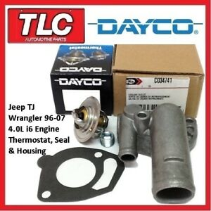 Jeep TJ Wrangler Thermostat, Housing and Gasket 96-07 4.0L 6 cyl