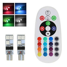 2Pcs T10 W5W 194 168 5050 6SMD RGB Changing Color LED Light With Remote Control