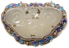 Antique Chinese Qing Carved Jade Filigree Silver Enameled Bat Shou Pin Pendant