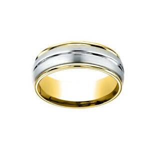 14K Two-Toned 8mm Comfort-Fit Polished Center Cut Carved Men's Band Ring Size 7