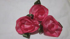 """25 PC LOT DARK PINK OMBRE WIRED 1 3/4"""" RIBBON ROSES WITH LEAVES"""