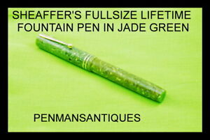 CIRCA 1924 SHEAFFER'S LIFETIME FOUNTAIN PEN IN GREEN JADE RADITE