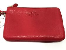 NWT Coach F66505 Pebble Leather Double Corner Zip Small Wristlet True Red