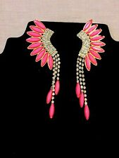 Gold Metal Chain Pink  Rhinestone  Fashion Jewelry Earring Set 4""