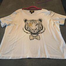 Top - T-Shirt, SArah Kern , Kurzarm, Druck Tiger, Glitzersteine, Ecru 52
