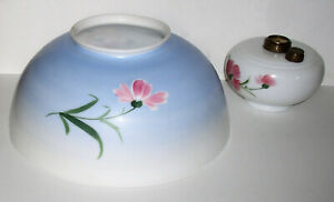Antique 14″ Hanging Oil Lamp Shade, Hand Painted Flowers w/Matching Font