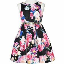 GIRLS size 16 lined Black FLORAL Party DRESS gold belt NEW Formal graduation