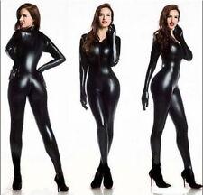 Women's Spandex PVC Catsuit Zentai Fancy Dress With Gloves Front Zipper Jumpsuit