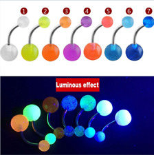 7pcs Glow In The Dark Belly Navel Button Rings Luminous Ball Tongue Piercing