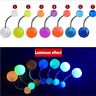 Brand New 7Pcs Glow In The Dark Belly Button Navel Bar Rings Body Piercing