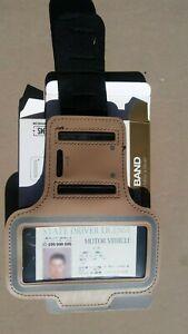 TAN premium (heavy duty, adjustable & reflective) arm band photo ID badge holder