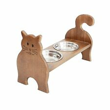 Raised Wooden Cats Bowls Stand, Elevated Cat Feeder,Dark Wood Stained, 10cm High