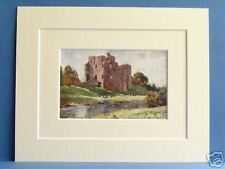 BROUGHAM CASTLE PENRITH CUMBRIA VINTAGE DOUBLE MOUNTED PRINT 1908 HEATON COOPER