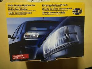 HELLA SEAT IBIZA 6K2 6K GP01 REAR SILVER LIGHTS TAILLIGHTS PAIR