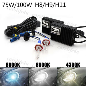 75W 100W H8 H9 H11 HID Conversion Kit Xenon Bulb AC Ballast Headlight Lamp