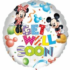 """MICKEY & MINNIE MOUSE 18"""" Round GET WELL SOON Foil Helium BALLOON"""