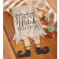 Mud Pie MH6 Holiday Halloween Kitchen Linen Witch Switch Legs Tea Towel 4405176