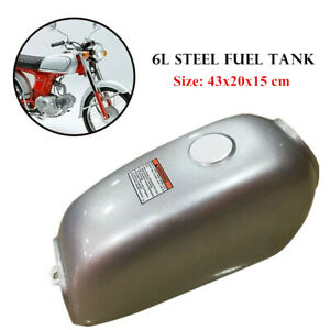 Motorcycle Steel 6L Gal Capacity Fuel Tank Dominator Gas for Retro Cafe Racer