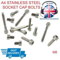 M8 Cap Socket Screws Allen Key Bolts A4 Stainless Steel Hex Head DIN 912