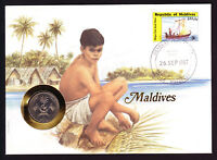 1987 Maldives Ships Old and New stamp & coin on cover Man by Waterside Palm Tree