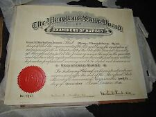 ANTIQUE THE MARYLAND STATE BOARD OF EXAMINERS OF NURSES LICENSES 1935