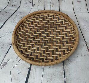 Vintage Round Wicker Rattan Wall Fruit Basket Retro 70s MCM Boho Farmhouse