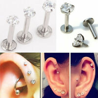 16G CZ Gem Round Tragus Lip Ring Monroe Ear Cartilage Stud Labret Body Piercing