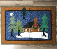 """Midnight Christmas Log Cabin Woods Quilt Wall Hanging Country Farmhouse 32"""" x 22"""