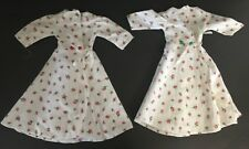 """Vintage Lot Of 2 Doll Bed Jackets Robes Coats With Rose Flower Print 13"""" Long"""