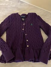 Girls Ralph Lauren Size 7 Cable knit sweater Purple