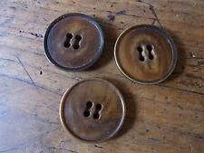 3 boutons diam 3 cm bakelite marron années60 05 / 3 round bakelite buttons 60's