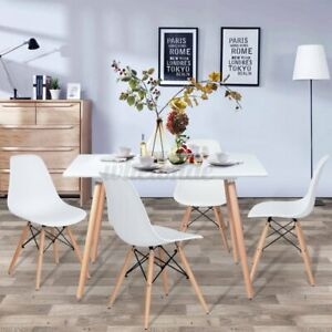 Contemporary Rectangular Dining Table With Wood Leg Breakfast Kitchen Room