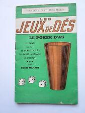 JEUX de DES REGLES POKER ZANZI 421 COCHON PASSE ANGLAISE 1949