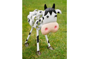 CRAZY FUN METAL BLACK & WHITE DAIRY COW WOBBLY HEAD GARDEN ORNAMENT STATUE