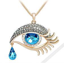 750 Gold 18K Kette Luxus Damen Halskette Perlen Zirkonia Collier Anhänger Auge