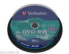 Verbatim 43552 4.7GB DVD-RW - Pack of 10 Spindle Discs ReWriteable ReRecordable
