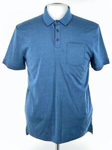 John Varvatos Star USA Mens Polo Shirt Sz Medium Blue 3 Button Pocket NEW $118