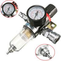 1/4'' Air Compressor Filter Water Separator Trap Tools W/ Regulator Gauge Tool