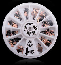 One 3D Metal Christmas Nail Art Decoration Slice Black Stickers Decal Foil Wheel