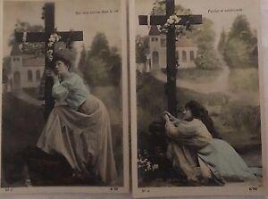 * Série de 3 cartes postales fantaisie - Prière au pied de la croix